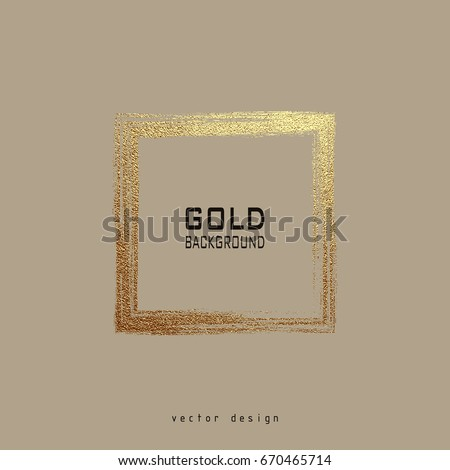 square golden frame on a grey...