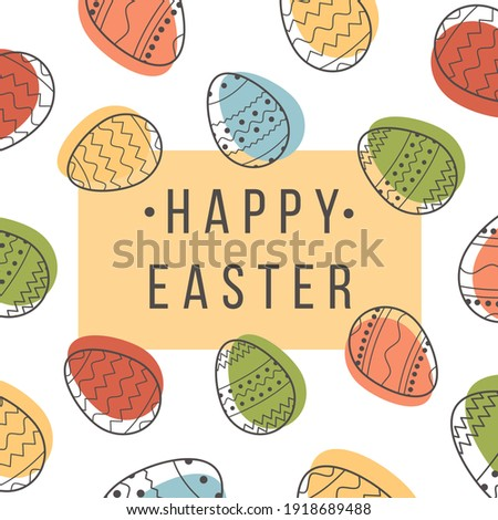 Square greeting card Happy Easter with decorated eggs on white background. Festive banner template with trendy outlined geometric pattern with black line on Easter Eggs. Flat Vector illustration.