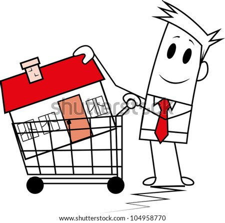 Square guy buying home. - stock vector