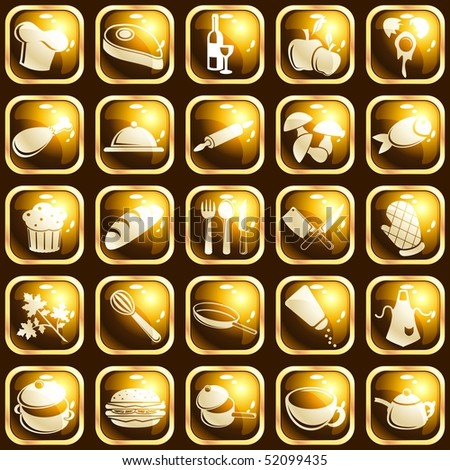 Square high-gloss food icons (Eps10); JPG version also available