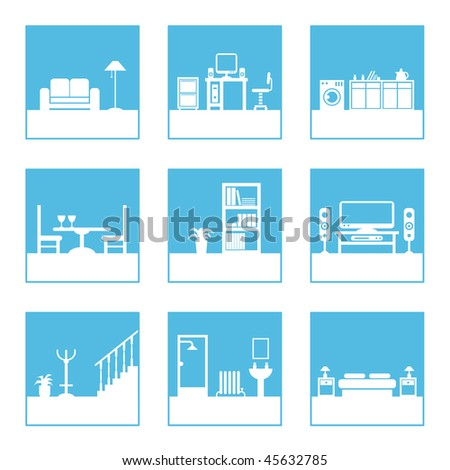 square icons with home interior designs, easily editable for color change
