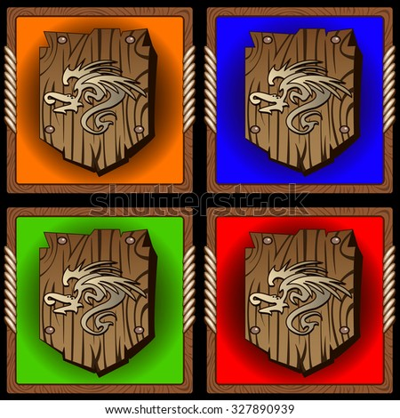 square icons with vintage wood