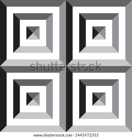 Square in square in square pyramid group impression inspired strukture abstract cut art deco illustration on transparent background