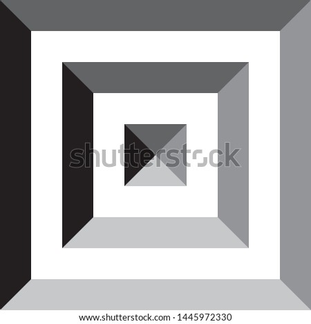 Square in square in square pyramid impression inspired strukture abstract cut art deco illustration on transparent background