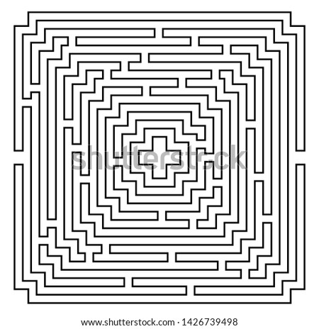 Square Labyrinth vector. Maze (labyrinth) game illustration