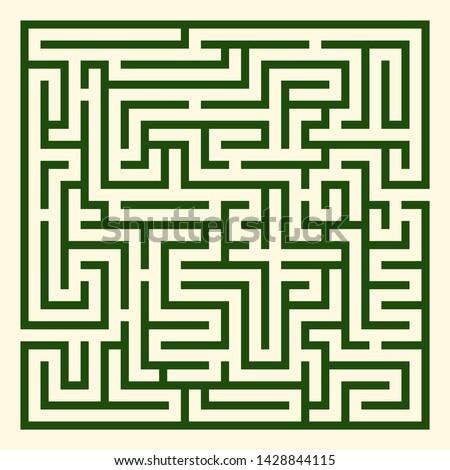 Square Labyrinth vector. Maze (labyrinth) game illustration