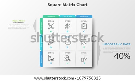 Square matrix chart or table. Nine paper white rectangular elements with thin line icons and letters inside, text boxes. Clean infographic design template. Vector illustration for presentation.