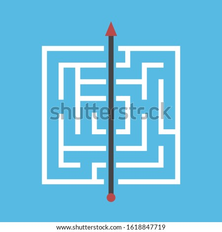 Square maze, shortcut through walls. Simple efficient solution of dfficult problem, breakthrough, obstinacy, creativity concept. Flat design. EPS 8 vector illustration, no transparency, no gradients Сток-фото ©