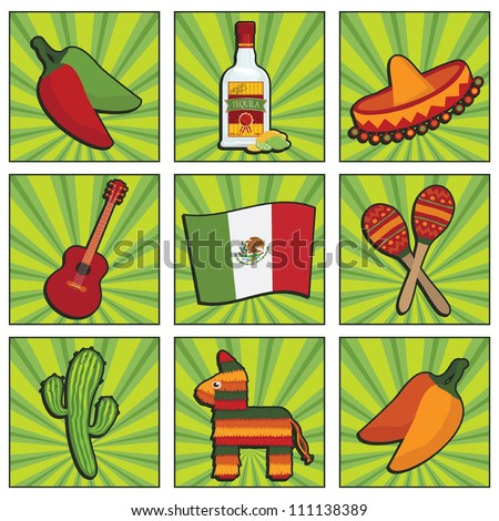 square mexican icons with motifs, isolated on white
