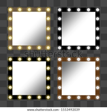 Square mirrors with white and yellow lights. Set of isolated glowing frames, portals. Furniture objects for interior, cards, banners, posters, games. Vector illustration