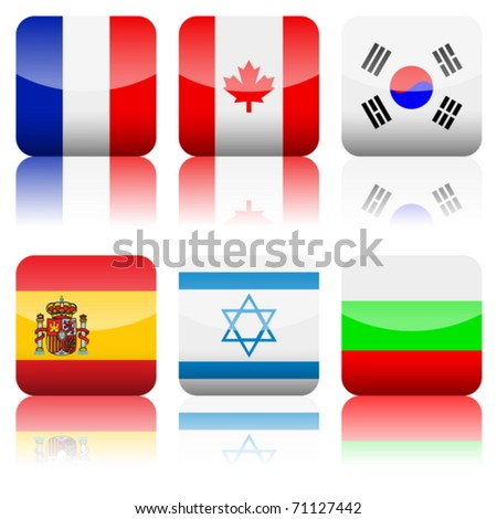 Square national flag set on a white background. Vector illustration.