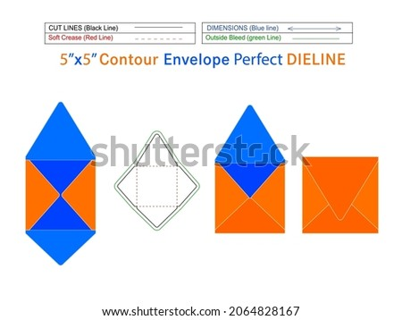 Square Packaging Contour envelope 5x5 inch dieline template and 3D envelope