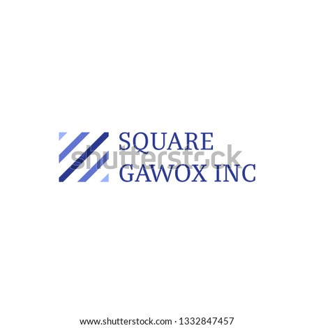 Square pattern logo company business inc with clean modern style blue color vector isolated design