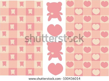 square pattern with hearts and bear
