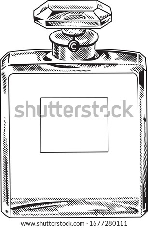 Square perfume container with dot drawing technique