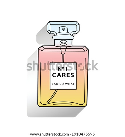 Square perfume glass bottle, container on white background isolated vector illustration. Sarcastic funny creative concept of the name brand written on the label
