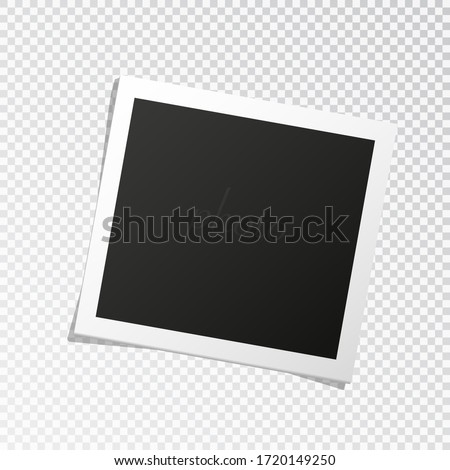 Square photo frame template with shadows isolated on transparent background. vector illustration Stockfoto ©