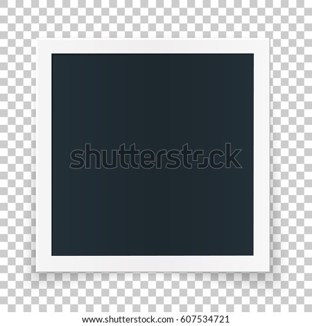 Square photo place concept, single isolated object on transparent background. Vector detailed illustration edge for photos and pictures.
