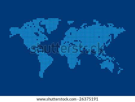 Digital technology earth world map on blue background with dots square pixel world map background world background series gumiabroncs Image collections