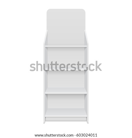 Square POS POI Floor Showcase Display Rack Shelves For Supermarket. Front View 3D. Illustration Isolated On White Background. Mock Up Template Ready For Your Design. Product Advertising. Vector EPS10