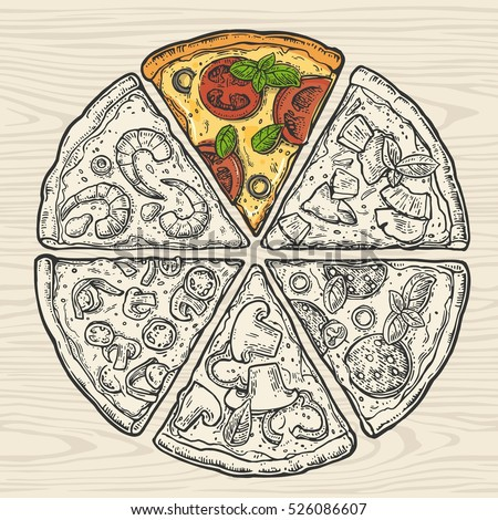 Square  poster with black and color slice pizza Pepperoni, Hawaiian,  Mexican, Seafood. Vintage vector engraving illustration. Isolated on seamless pattern wood background