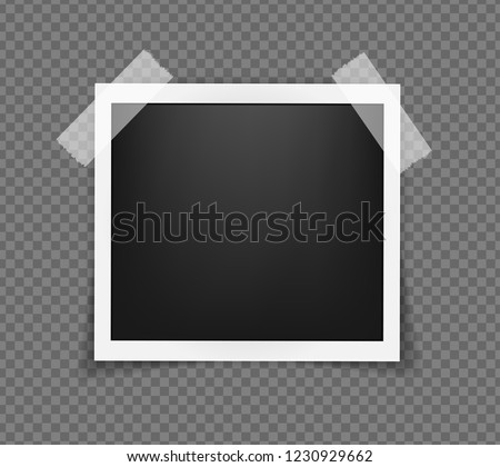 Square realistic polaroid frame template on sticky tape with shadows isolated on transparent background. Polaroid vector illustration