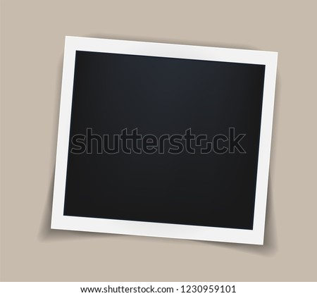 Square realistic vintage frame template with shadows isolated on beige background. vector illustration Сток-фото ©
