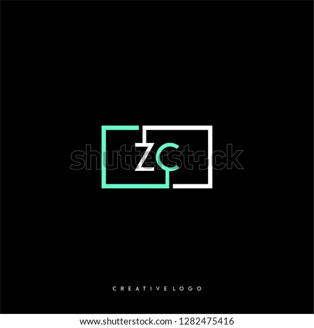 Square rectangular green and white zc logo letters design concept for technology