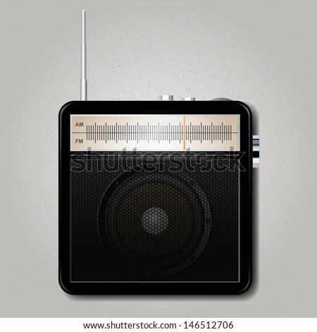 Square retro radio. Vector illustration
