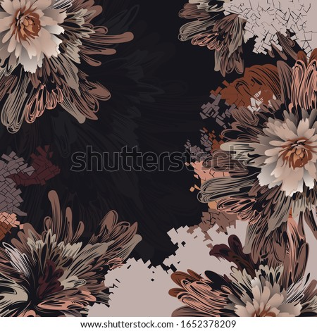 Square Scarf Design With Floral Pattern Vintage ストックフォト ©