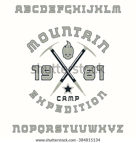 Square serif font with contour and expedition emblem. Color print on white background