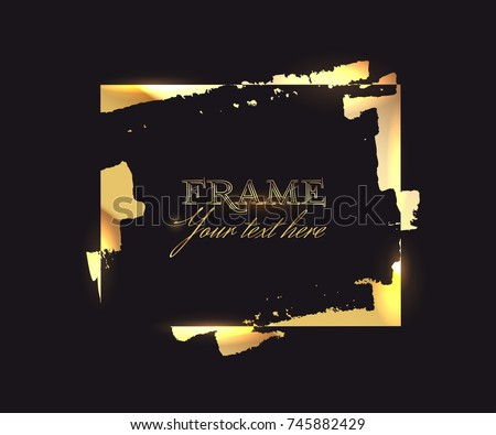 Square shape frame of gold leaf on the black background for decor of banners, inscriptions, logos and art products in grunge design