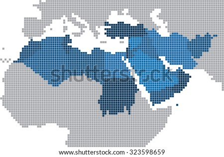 Square shape of Middle east and nearby countries map. Vector illustration