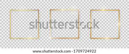 Square shiny frames with glowing effects. Set of three gold square frames with shadows on transparent background. Vector illustration