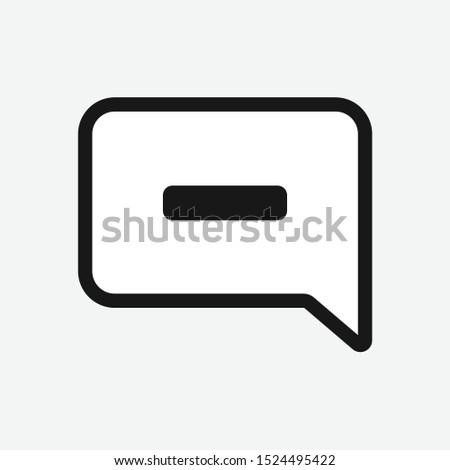 Square speech bubble with minus symbol