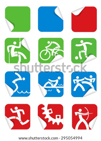 Square Sticker sport icons.\ Set of colorful Square Sticker sport icons. Vector illustration.
