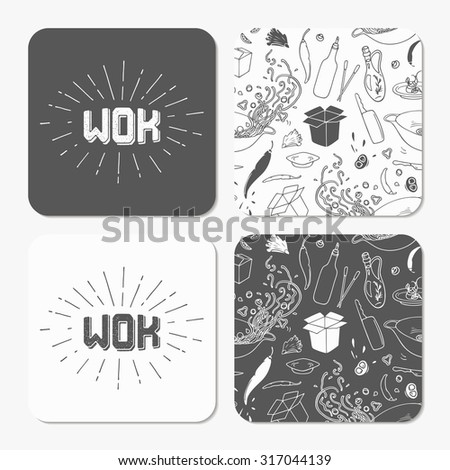 Square table coaster templates set with doodle wok noodles for Coaster size template