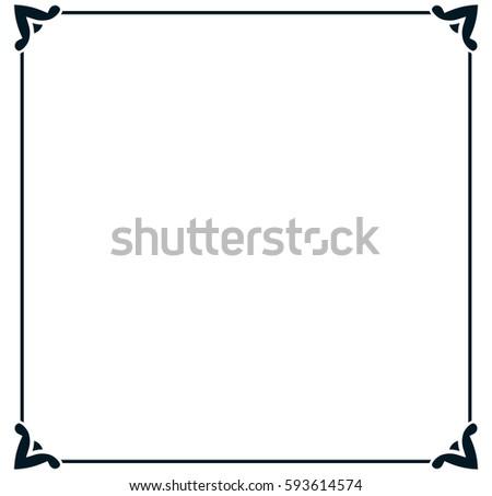 Square tile frame border line vector vintage
