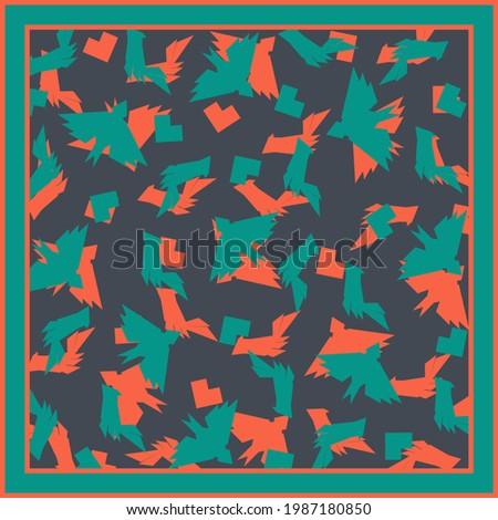Square vector background. Scarf, shawl, design. Bandana, pareo pattern, hijab print. Ethno style. Photo stock ©