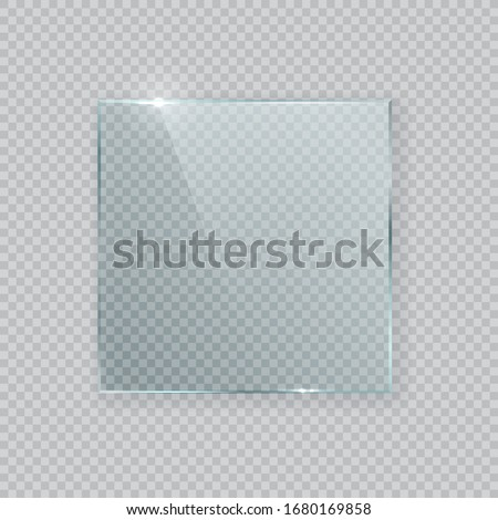 Square vector glass frame. Isolated plate on transparent background. Realistic texture with glares and light