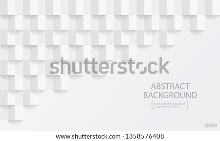 Square white abstract background. Vector background 3d paper art style can be used in cover design, book design, poster, cd cover, flyer, website #1358576408