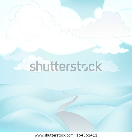 square winter landscape view with road at cloudy weather vector illustration