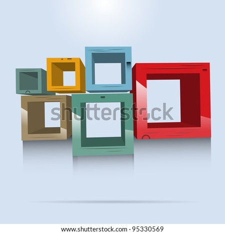 Square wooden shelves vector format