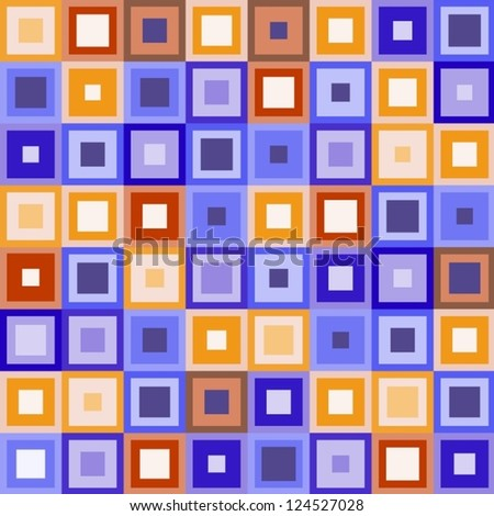 Squared blue and orange seamless pattern.