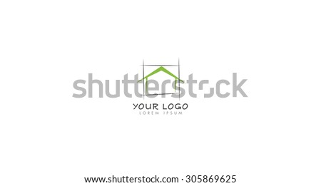 squared house abstract logo