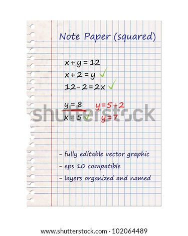 Squared Note Paper, Blank Sheet | EPS10 Vector Graphic | Layers Organized and Named
