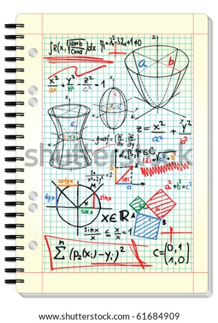 Squared pad with mathematical sketches and formulas - vector illustration