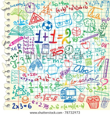 Squared paper with colored school symbols