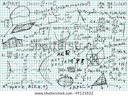 Squared paper with mathematical equations and sketches - vector illustration
