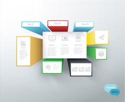 Squares and Boxes Info Graphics Vector Text Box Elements For Your Stylish Responsive Design